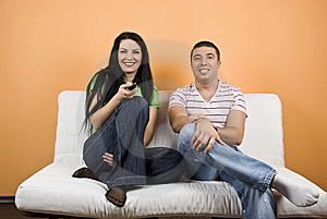 Couple watching TV Free Stock Image