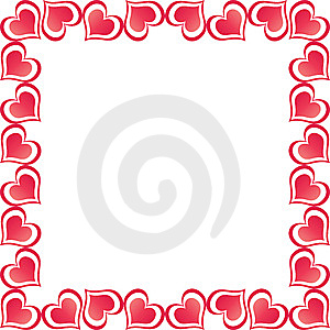 Valentine Hearts Border Fotografia de Stock Royalty Free