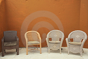 Colorful Straw Wicker Chairs On Patio Royalty Free Stock Photography - Image: 8028717