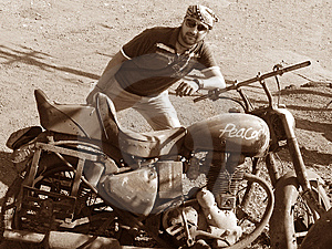 Young Guy With Old Bike Stock Photos - Image: 8029363