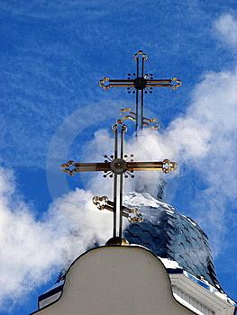 Church Crosses Inside White Cloud 2 Stock Photo - Image: 8029820