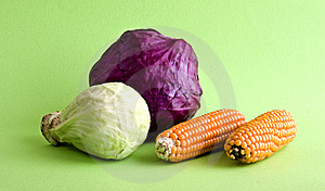 Corn And Cabbage Royalty Free Stock Image - Image: 8029896