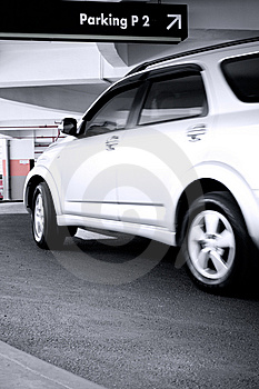Car Enter The Parking Lot Stock Image - Image: 8031441