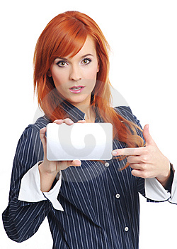 Woman With Blank Credit Card Royalty Free Stock Photography - Image: 8034917