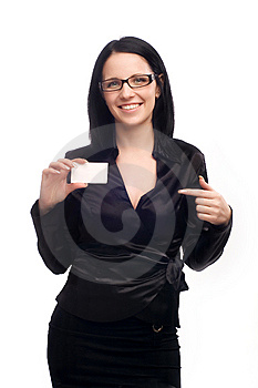 Girl with a business card Stock Photos