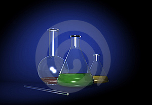 Some Transparent Glass Flasks On Blue Stock Image - Image: 8039111