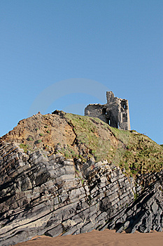 Ballybunions Castle On The Cliffs Stock Photo - Image: 8044200