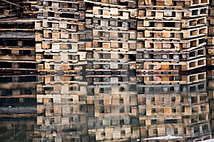 Shipping Pallets On Water Royalty Free Stock Photo - Image: 8044715