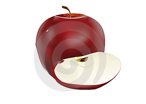 Red Apple With Slice Stock Photos - Image: 8045063