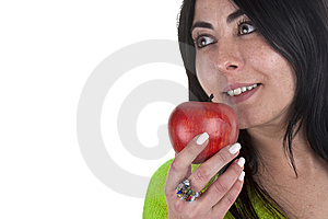 Young Woman Holding Healthy Red Apple In The Hands Royalty Free Stock Images - Image: 8050419