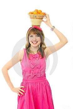 Beautiful Girl With A Basket Full Of Tangerines Stock Photos - Image: 8050493