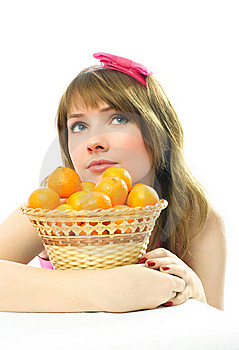 Beautiful Dreamy Girl With Tangerines Royalty Free Stock Photography - Image: 8050507