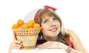 Dreamy Girl With Tangerines Stock Photos - Image: 8050513