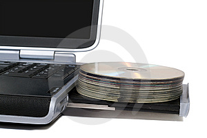 Laptop With Overloaded DVD Drive Stock Image - Image: 8052341
