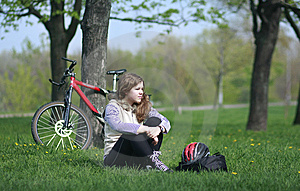 Young Lady Cycling In The Park Royalty Free Stock Photos - Image: 8056408