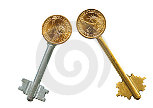 Cash Latchkeys To Financial Success And Stability. Royalty Free Stock Image - Image: 8058176