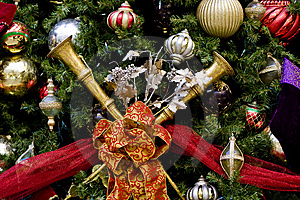 Christmas Tree With Horns Ribbons And Balls Royalty Free Stock Photography - Image: 8058387