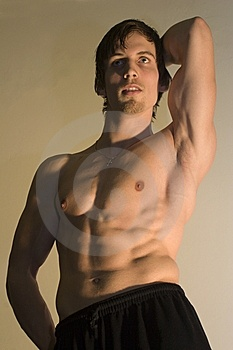 Pose Of Bodybuilder Stock Photo