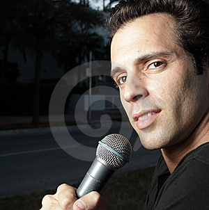 Man With A Mic Stock Photo - Image: 8059340