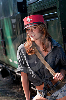 Young Woman With Conductor Cap Stock Photography - Image: 8059882