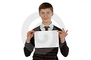 Young Man Holding A Sheet Of Paper Stock Photo - Image: 8060180