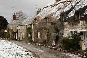 Cottages In The Snow Stock Images - Image: 8060254
