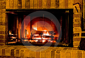 Warm Burning Fireplace Stock Images - Image: 8061194
