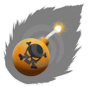 Orange Bomb With Skull Stock Photography - Image: 8061792