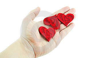 Men's Hand Holding Three Hearts Royalty Free Stock Image - Image: 8063806