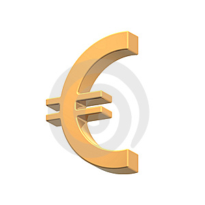 Gold Euro Sign Isolated On White Royalty Free Stock Photo - Image: 8065075