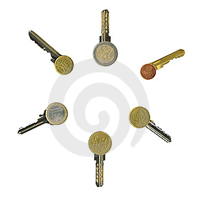 Cash Latchkeys To Financial Success And Stability. Royalty Free Stock Image - Image: 8066236
