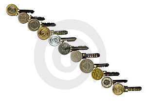 Cash Latchkeys To Financial Success And Stability. Royalty Free Stock Image - Image: 8066296