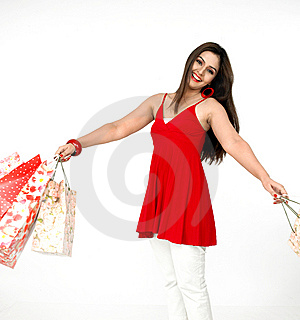 Beautiful Woman A Shopping Spree Royalty Free Stock Image - Image: 8067306