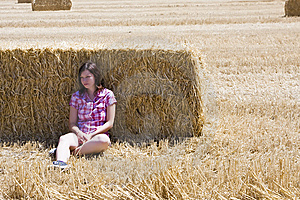 Young Woman In Haystack Royalty Free Stock Photos - Image: 8068018