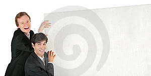 Two Businessmen Push White Plate Royalty Free Stock Photos - Image: 8071638