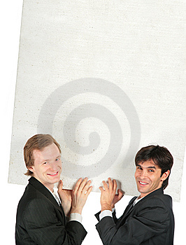 Two Businessmen Carry White Plate Royalty Free Stock Images - Image: 8071669