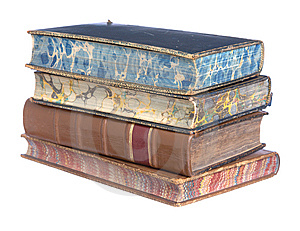 Pile Of Old Leather Bound Books Stock Image - Image: 8076231