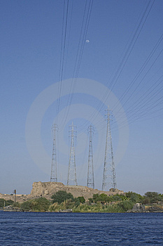 Power Line Over Nile River Stock Photography - Image: 8076312