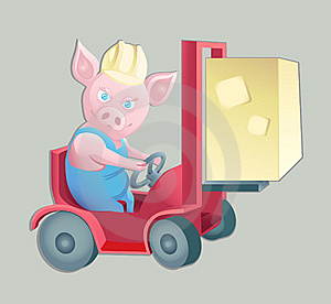 Pink Piggy At Work Royalty Free Stock Image - Image: 8079066