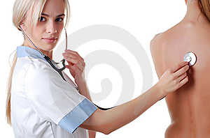 Nurse With Stethoscope And Patient Stock Photos - Image: 8079923