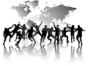 People In Action And Map Stock Photography - Image: 8080832
