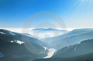 Misty Winter Day In The Mountains Stock Images - Image: 8081934