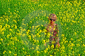 Woman In The Yellow Flowers Field Stock Photos - Image: 8082933