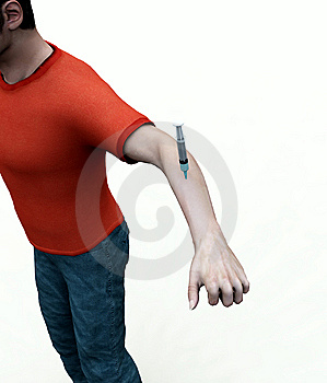 Needle In Mans Arm Royalty Free Stock Photography - Image: 8083897