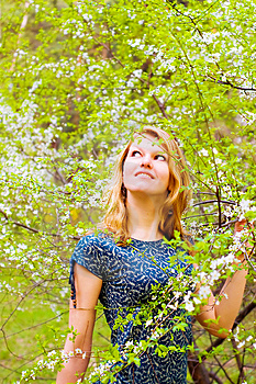 Young  Woman And Flowered Tree Stock Images - Image: 8084754