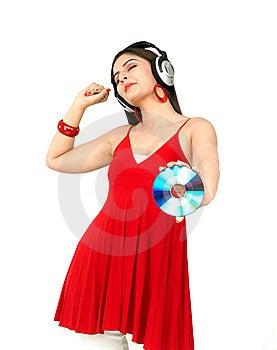 Donna Che Gode Della Musica Immagini Stock Libere da Diritti - Immagine: 8090559