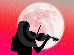 Violinist In The Moon Royalty Free Stock Photo - Image: 8090575