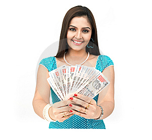 Lady With Currency Notes Royalty Free Stock Photo - Image: 8090675