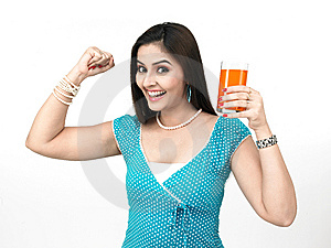 Woman With A Glass Of Juice Stock Photos - Image: 8091013