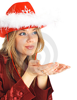 Blond Girl Blowing Kiss Isolated. Royalty Free Stock Images - Image: 8091899